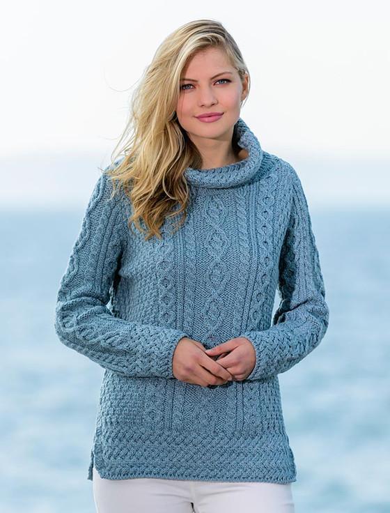 Aran Cowl Neck Tunic Sweater - Misty Marl