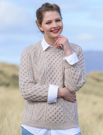 Handknit New Wool Honeycomb Stitch Aran Sweater - Honey Oat