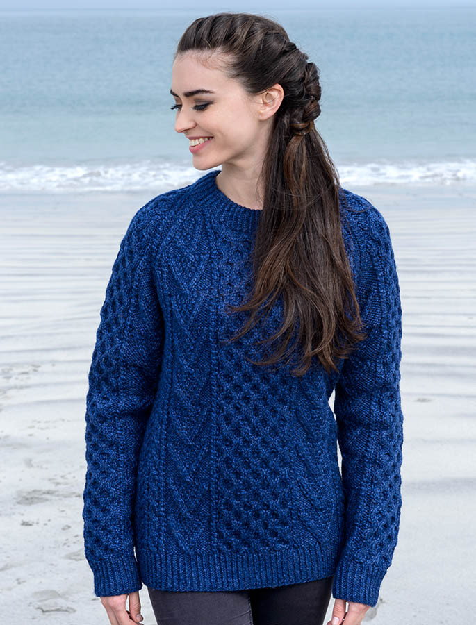 Handknit New Wool Honeycomb Stitch Aran Sweater , Nightshade