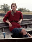 Heavyweight Merino Wool Aran Sweater - Red