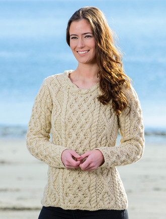 Lambay Aran Sweater for Women - Oatmeal