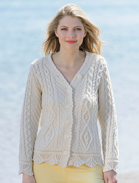 Button Merino Aran Cardigan Cable Knit