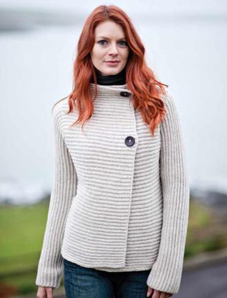 Wool Cashmere Horizontal Ribbed Cardigan - Oatmeal