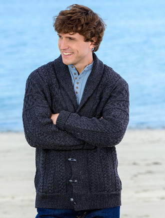 Men's Shawl Neck Cardigan - Charcoal