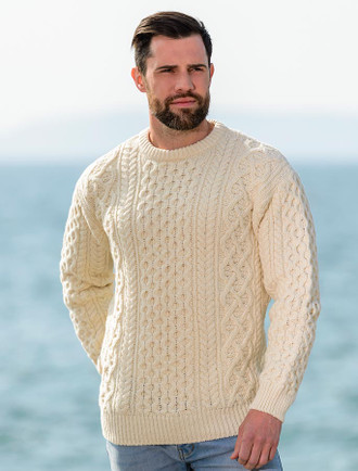 Heavyweight Merino Wool Aran Sweater - Natural White