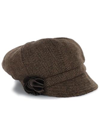 Ladies Tweed Newsboy Hat - Brown