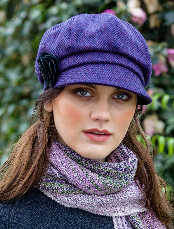 fa88f96d985 ... ladies tweed newsboy hat dark purple