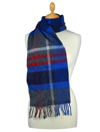 Narrow Lambswool Plaid Scarf - Grey Red Blue