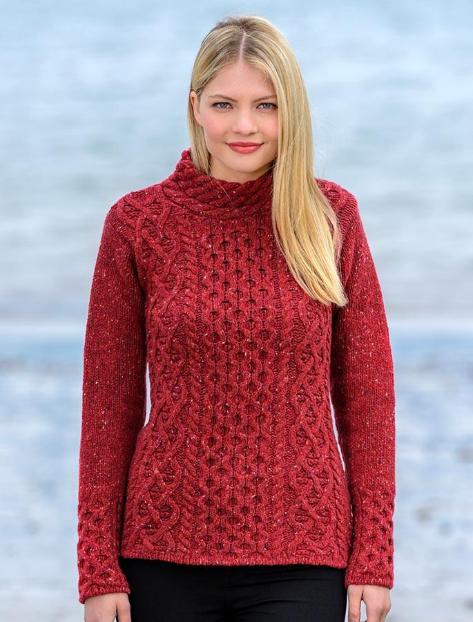 01e35227c5b8 Women s Wool Cashmere Aran Mock Turtleneck Sweater