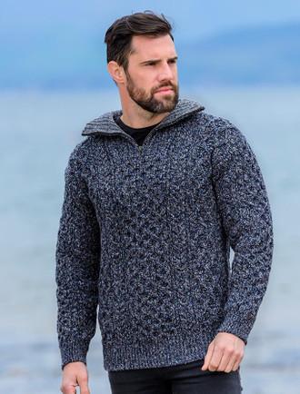 Wool Cashmere Aran Troyer Sweater - Navy Marl