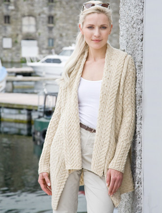 Waterfall Cable Cardigan - Oatmeal Marl