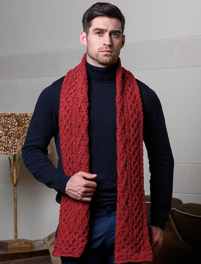 a563543b1ba47 Men s Wool Cashmere Aran Honeycomb Scarf
