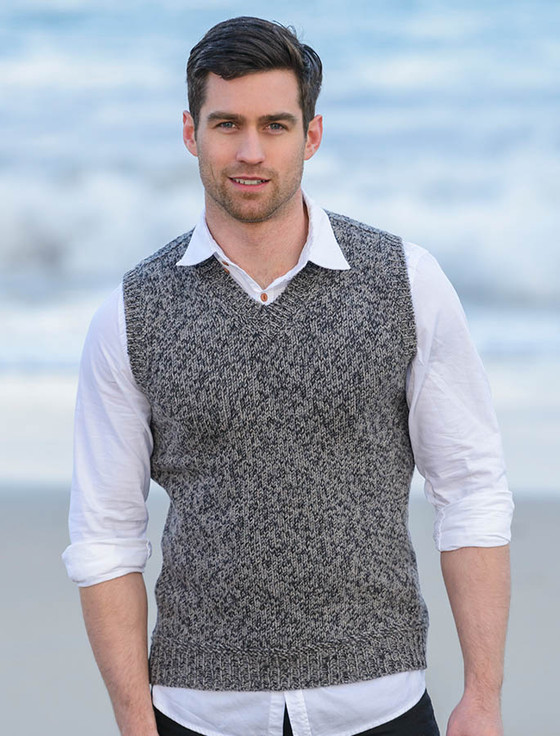 Merino Wool Vest with Ribbed Back Panels - Graphite