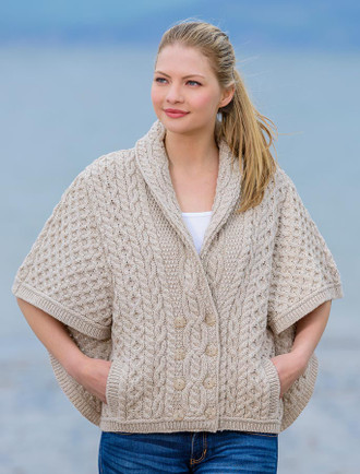 Shawl Neck Aran Batwing Jacket - Oatmeal
