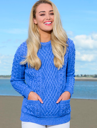 Cable Crew Neck Sweater with Pockets - Wedgewood Blue