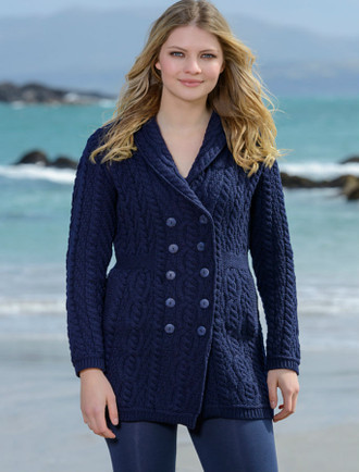 Double Breasted Aran Coat - Navy