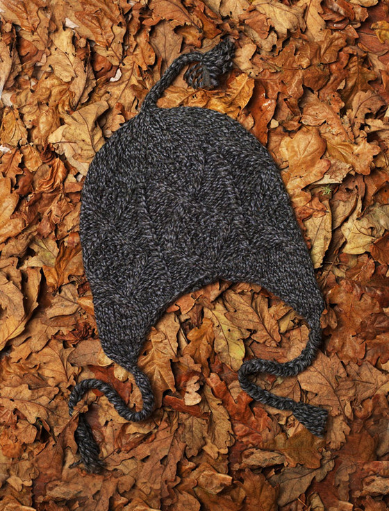Handknit Aran Hat with Ear Flaps