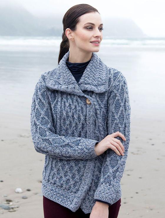 Single Button Aran Trellis Cardigan - Soft Grey/Denim