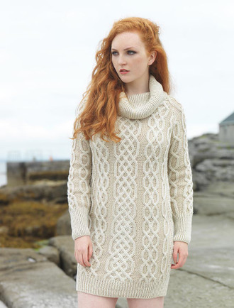 Cowl Neck Aran Plaited Sweater Dress