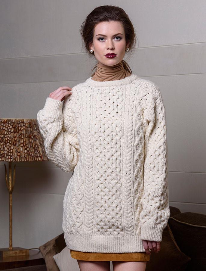 Womens Oversized Wool Cashmere Aran Sweater