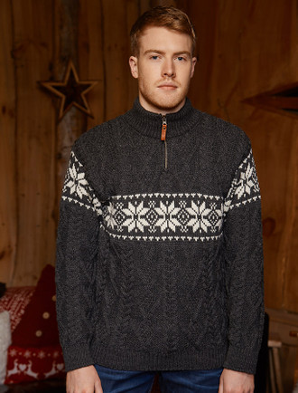 Winter Fair Isle Zip-Neck Aran Sweater - Charcoal/Natural White