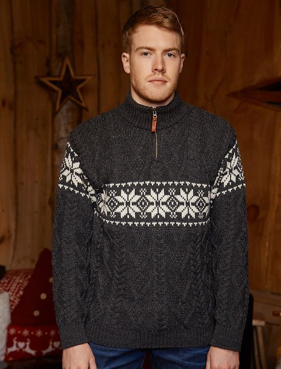 Winter Fair Isle Zip-Neck Aran Sweater - Charcoal/Natural White