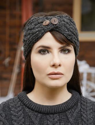 840d6e6bc37 Fleece Lined Aran Headband with Buttons ...
