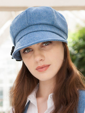 Ladies Tweed Newsboy Hat - Sky Blue ... 7457f6d65c1