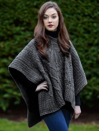 V-Neck Aran Cable Poncho - Storm Grey