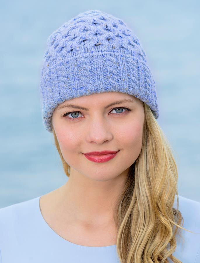 Women s Wool Cashmere Aran Honeycomb Hat - Sky Blue e947218c57