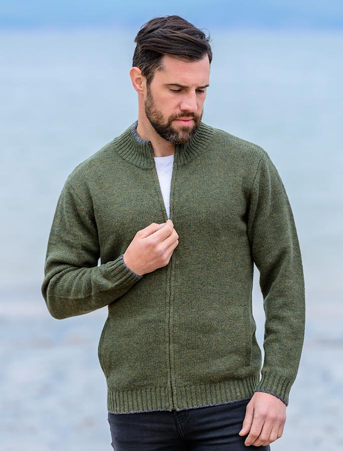 Mens Lambswool Cardigan Mens Zip Cardigan Irish