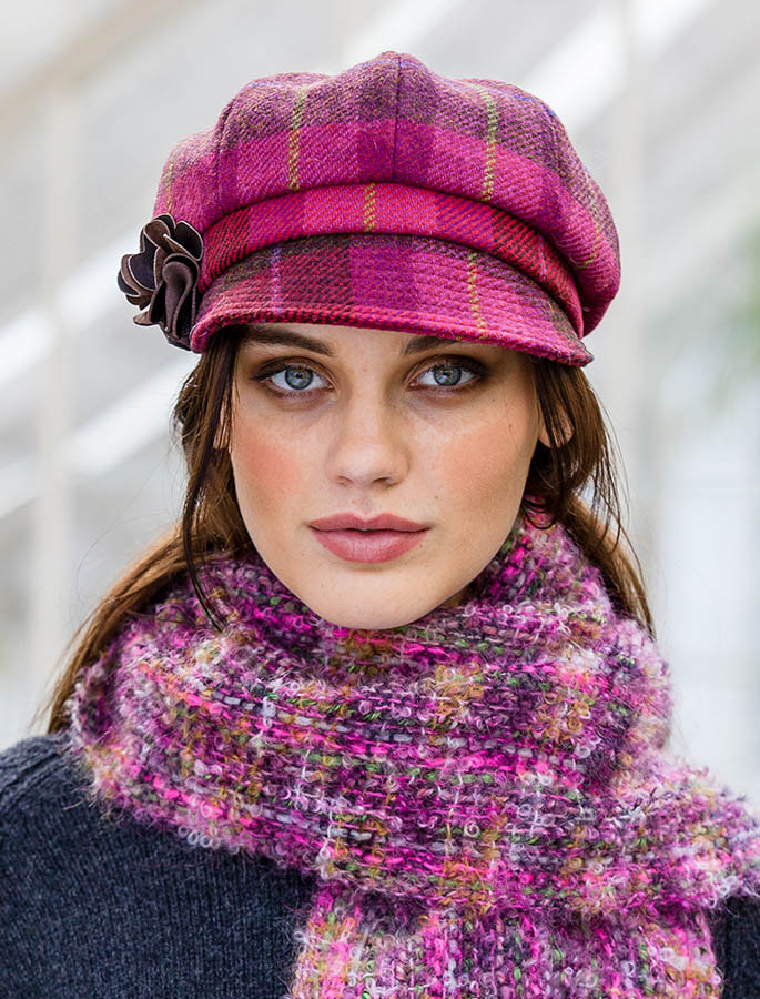 Ladies Tweed Newsboy Hat - Pink Plaid  117f7668d43