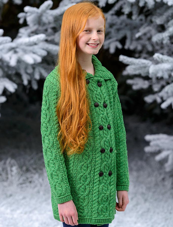Kid's Double Breasted Aran Merino Cardigan - Green Marl (CatImage_/christmas-for-kids) (CatImage_/aran-christmas-store)
