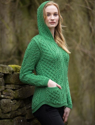 Cable Knit Hoodie with Celtic Knot Zipper Pull (CatImage_/womens-st-patricks-day) (CatImage_/aran-st-patricks-day)