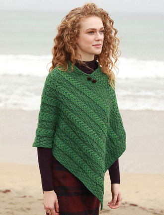 Plaited Aran Poncho with Button Detail - Connemara Green/Kiwi