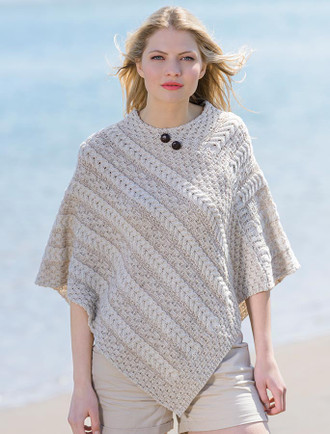 Plaited Aran Poncho with Button Detail - White/Wicker