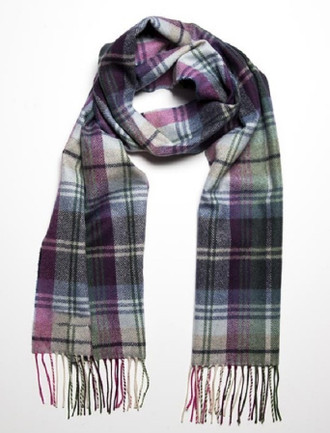 Narrow Lambswool Checked Scarf - Green, Blue & Pink Plaid