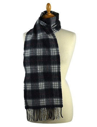 Narrow Lambswool Checked Scarf - Charcoal Plaid