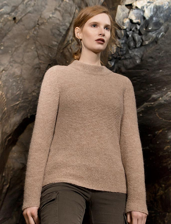 Links Stitch Mock Neck Sweater - Buff