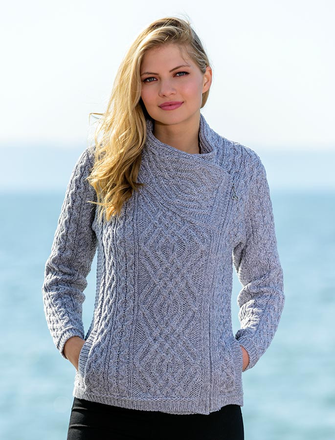 Cable Knit Jacket With Celtic Knot Side Zip Aran Sweater Market