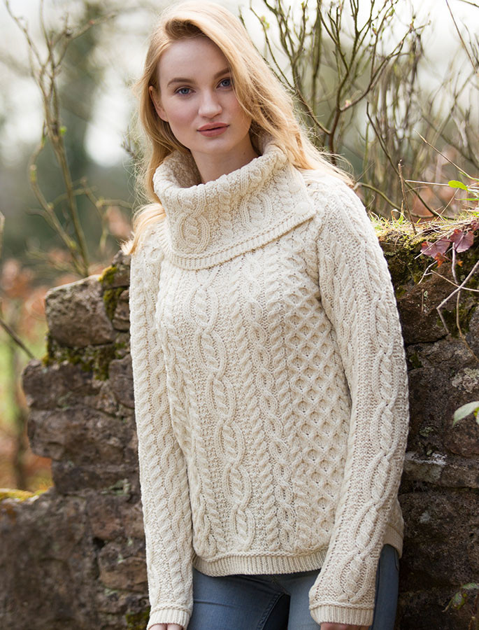 Cowl Button Neck Aran Sweater Aran Sweater Market
