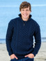 Heavyweight Merino Wool Aran Troyer - Navy