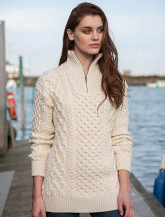 Womens Heavyweight Merino Wool Aran Troyer