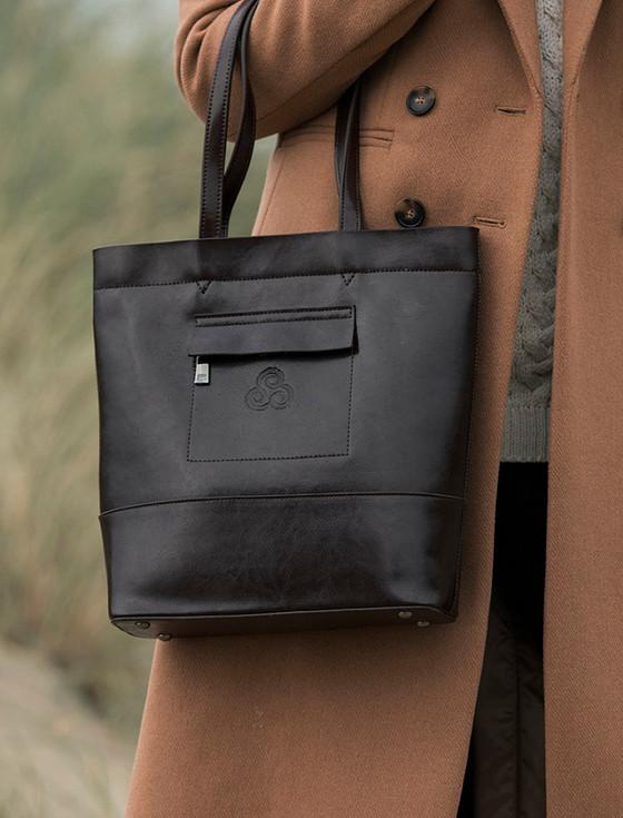 Ladies Large Tote Leather Bag- Turf