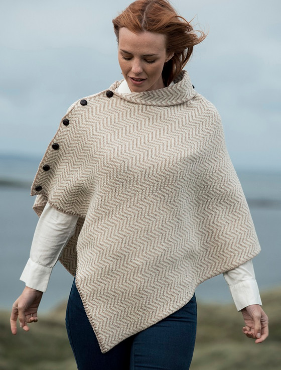 Herringbone Merino Poncho with Button Detail - Wicker/White