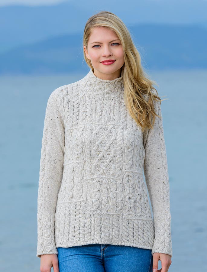 Wool Cashmere Patchwork Aran Sweater Aran Sweater Market