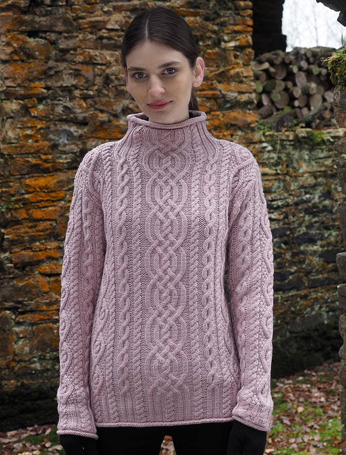 Super Soft Aran Roll Neck Sweater - Dusty Pink