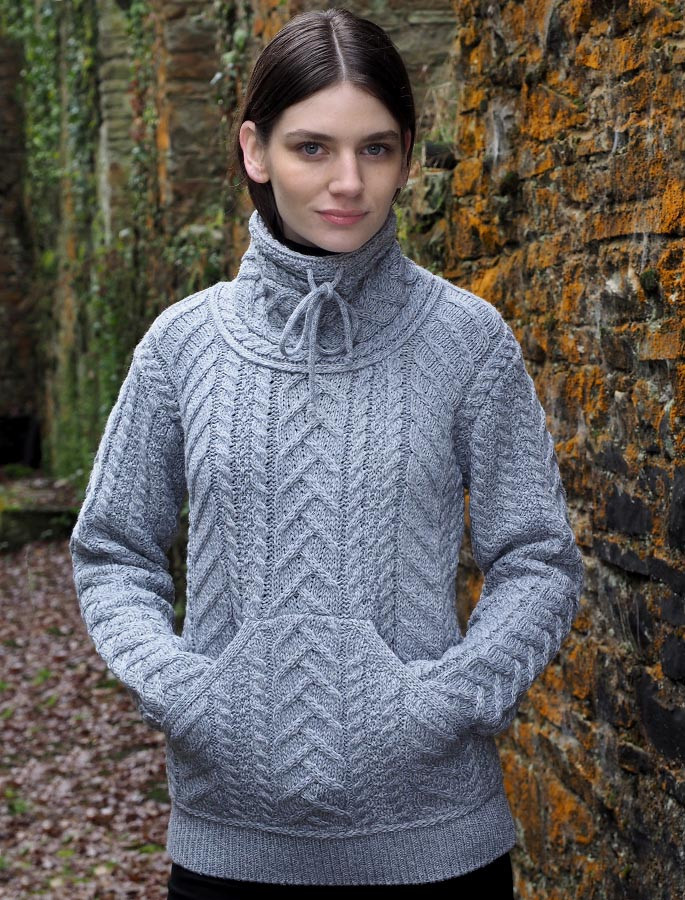 Super Soft Aran Cowl Neck Sweater Aran Sweater Market