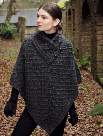 Super Soft Lattice Stitch Poncho - Charcoal