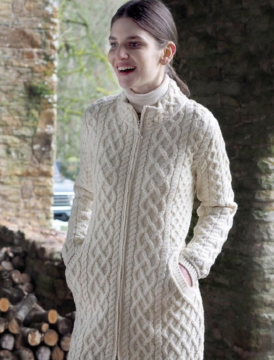 Plated Coat with Celtic Zip - Natural White